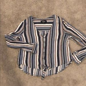 Lulus Multi striped tie front shirt